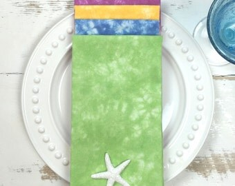 ON SALE - SECONDS - Napkins, Flour Sack Napkins, Hand-Dyed Caribbean Colors, Set of 4, Deep Blue, Key Lime Green, Passion Fruit and Mango,