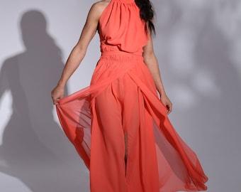 Sheer Chiffon Dress, Summer Dress, Maxi Dress, prom dress ,Silk Chiffon Dress, plus size dress, bridesmaid dress Chiffon bridesmaid dress