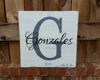 """Pallet wood style sign- Wedding Gift- Anniversary Gift- Last Name with Initial and Date of Wedding- 17"""" W x 16.5"""" H"""