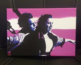 Titanic Canvas Print - Leonardo DiCaprio and Kate Winslet - Various Sizes - James Cameron - Pink Canvas