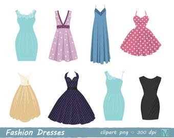 Fashion Dresses - Digital Clip Art for Scrapbooking Card Making Cupcake Toppers Paper Crafts - instant download digital file - PNG