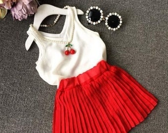 Red skirt and White blouse Set