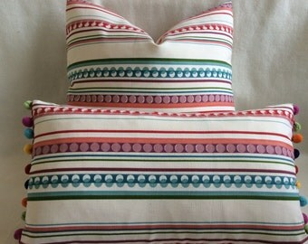 Fiesta Designer Pillow Cover Set - 2pc Dots and Stripes - Red/ Teal/ Pink/ Purple