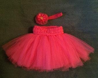 6mos fushcia pink tutu and headband set