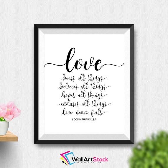 printable love bears all things 1 corinthians 13 7 wall art. Black Bedroom Furniture Sets. Home Design Ideas
