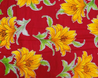 """Decorative Pure Cotton Fabric Red Yellow Floral Print 45""""Wd Sewing Making Crafting Material Indian Floral Dress Fabric By 1 Yard ZBC4716"""