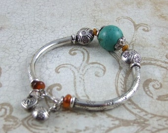 Handmade Thai Sterling Silver With Turquoise Bead Bracelet - 60mm.