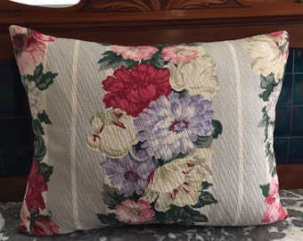 BARKCLOTH Upcycled New Pillow, 1930-40s Floral Fabric, Shabby Chic, French Country, Designer Custom, Plump Down/Feather Insert