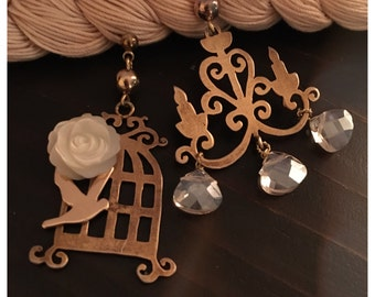 Chandelier and cage earrings