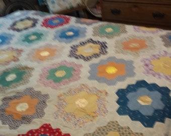 Grandmas Flower Garden Quilt Top. Hand pieced 67 x 90.