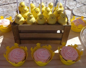 Yellow Duckies Cupcake Wrappers, Yellow rubber ducks, babyshower, party, set of 12
