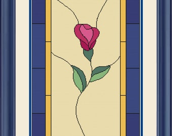 Rose - Stained Glass Style Cross Stitch Pattern