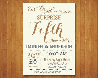 Surprise 50th Wedding Anniversary Invitation. Fifth Anniversary. Gold, White and Gray. Golden Fifty Wedding. Printable Digital.