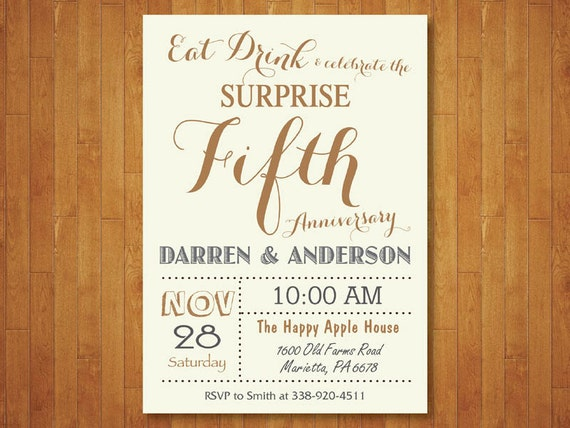 Fiftieth Wedding Anniversary Invitations: Surprise 50th Wedding Anniversary Invitation. Fifth