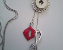 Love Kiss and Infinity Love Charm Zipper Pulls 18-25 mm Snap Button Socket Pendant Adjustable Necklace