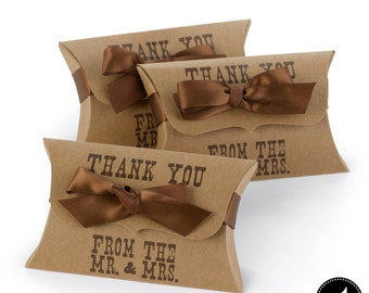 Country Western Rustic Wedding Favor Kraft Paper Pillow Boxes With Satin Ribbon Included | 25 Kraft Paper Pillow Boxes Each