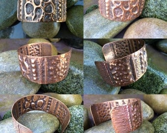 Solid copper, airchased and fold formed cuff bracelet