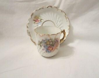 Vintage Demitasse Cup with Poppies