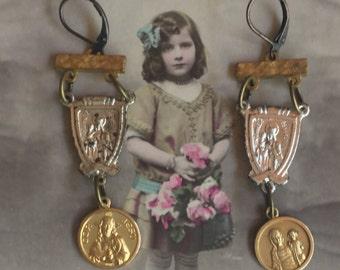 Dangling  prayers - assemblage vintage earrings-unique- handmade