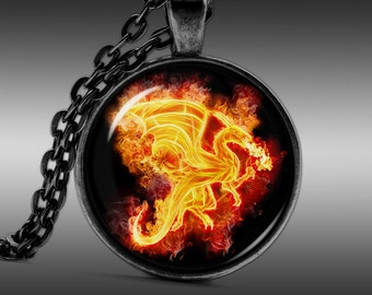Necklaces, Pendants, Jewellery, Dragon Necklace, Fire Dragon Pendant, basilisk jewelry, charm     FRW137