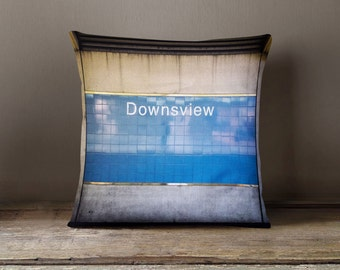 Toronto Downview Station Subway Sign Pillow   Made In Canada Subway Art,  Blue Home Decor
