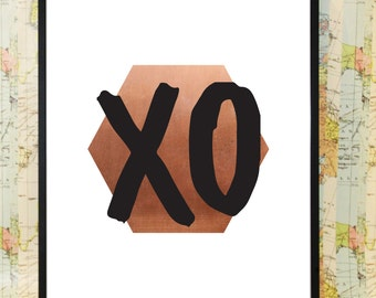 XO copper poster typography print
