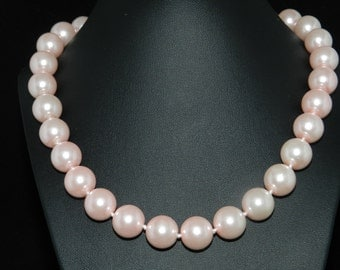 FT671 Chunky Pink Pearl Necklace  18in