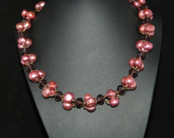 CLEARANCE *FT676 Pink Freshwater Pearl Necklace and Bracelet Set  18in