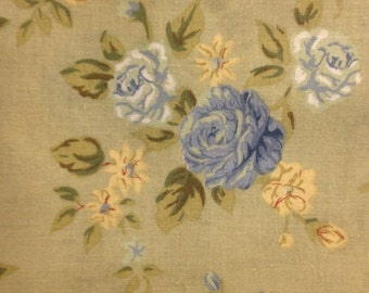 Blue and Yellow Roses on Light Green Background, 100% Cotton