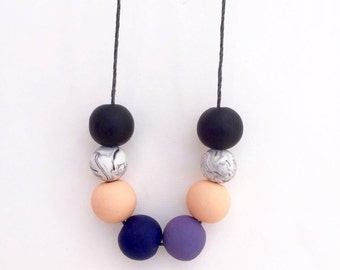 Spring necklace, polymer clay bead necklace, polymer clay necklace