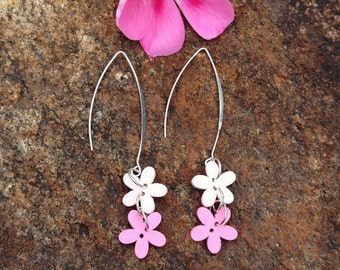 Pink button flower earrings with a silver plated long hook - button dangle earrings - pink flower earrings - gift for her - button jewelry