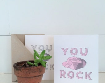 You Rock - Modern/Minimal/Hipster Valentine's Card - Watercolor Hand Lettering & Illustration - Pink and Gray- Art Card/Blank Inside