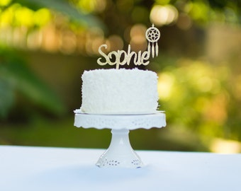 Boho Chic Name Cake Topper For Kids Party With Dream Catcher