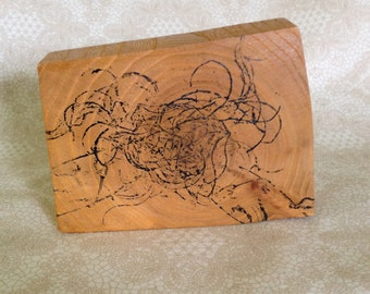 Abstract Monoprint on Wood