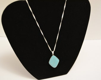Silver Wrapped Turquoise Pendant nacklace
