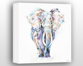 Elephant Wall Art For The Home, Modern Elephant Painting , Limited Edition Gallery Wrapped Canvas