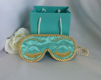Holly Golightly - Breakfast at Tiffany's inspired satin sleep mask blind fold with embroidered eyelashes - Audrey Hepburn inspired