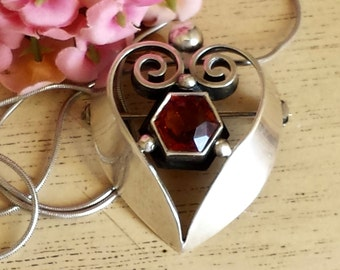 KALO Sterling Heart Pendant Pin Sterling Kalo Necklace Pendant Pin Deco Arts and Crafts