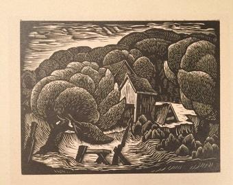 E.M. Washington Woodcut Print of Rural Landscape - Fraud - Forgery - Art Scam - 1990s