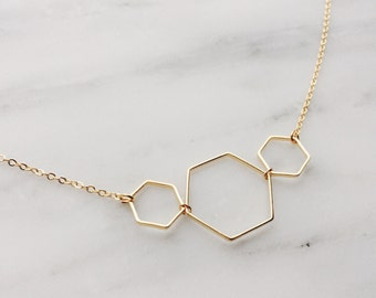 Triple Hexagon Necklace / Gold Hexagon Necklace / Geometric Necklace / Layered Necklace / Bridesmaid/Birthday Idea