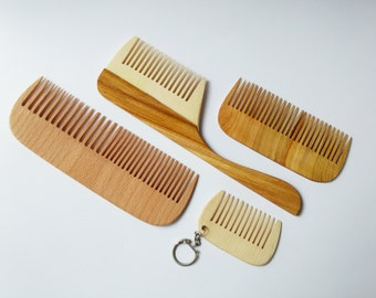 Wooden comb set Wood comb Anti static comb Hair care Comb with handle Handmade comb Hair comb Eco friendly comb