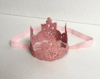 Coral and pink first birthday crown