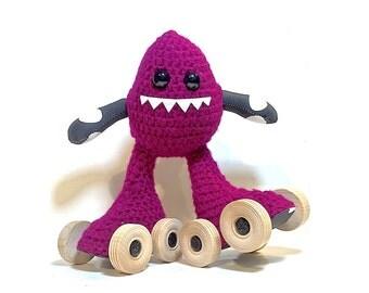 Marroon/B&W Dots, Crochet Skate Monster