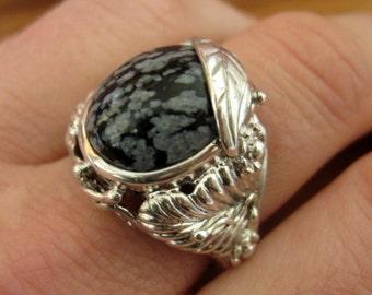 Snowflake Obsidian set Art Nouveau style Sterling Silver Ring