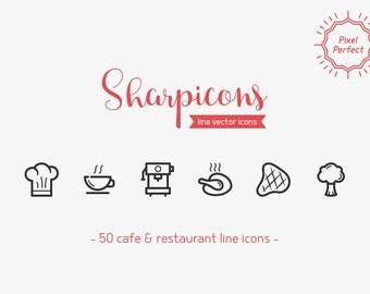 Cafe & Restaurant Line Icons