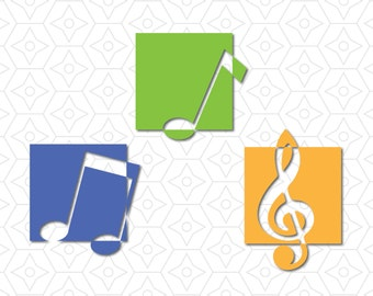Music Treble Clef and Notes Decal Set, DXF, SVG and AI Vector Files for use with Cricut or Silhouette Vinyl Cutting Machine