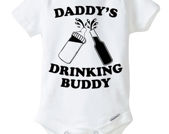 Daddy's Drinking Buddy Onesie Design, SVG, DXF Vector Files for use with Cricut or Silhouette Vinyl Cutting Machine. PNG for Direct Printing