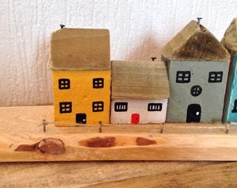 Miniature wooden houses-handmade-hand painted-reclaimed wood-shabby chic-freepost