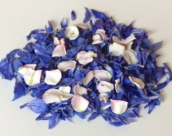 Real Flower Petal Wedding Confetti or Table Sprinkle: Blue Flower Confetti with Blush Pink Rose Petals, Enough for 20 People.  All Natural!