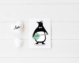 Baby nursery print- Penguin banjo print - Kids Room Decor / Nursery Art Print / Kids Interior Design/kids wall decor/kids room prints